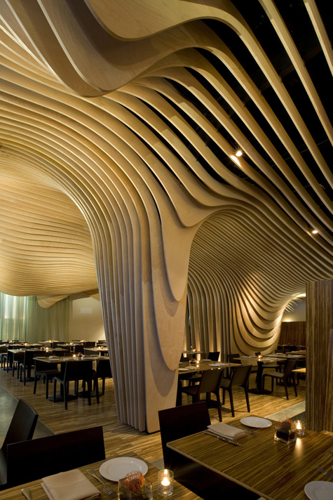 Design by Office dA. The interior of Banq gets your head swirling with its banyan tree-inspired aesthetic. The interior is made up of curved layers of birch ... & Interior Design | Modular 4