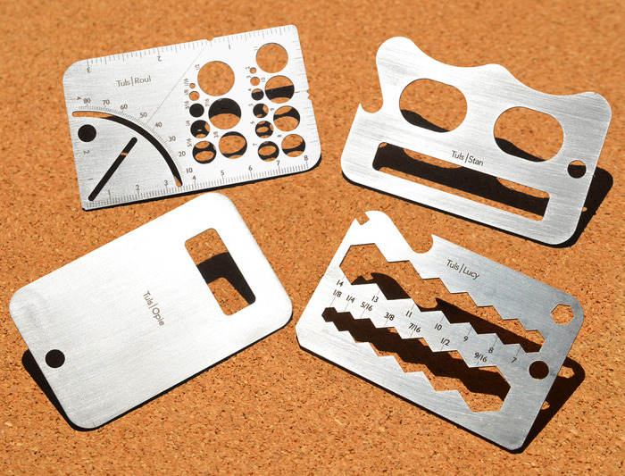 With tuls youre never a tool modular 4 tuls are a set of compact credit card sized tools designed to solve a range of everyday problems tuls are bundled in functionally complimentary sets colourmoves