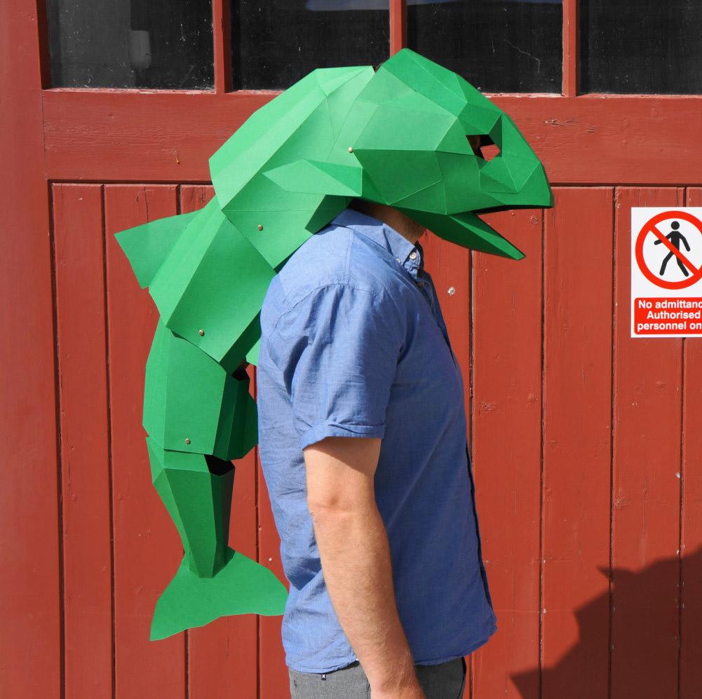 Paper sculpture modular 4 for Fish head mask