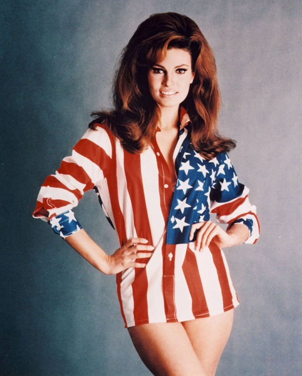 Raquel-Welch-wearing-flag-shirt